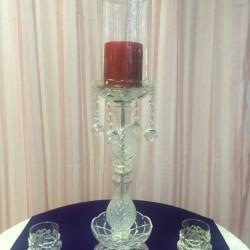 Kristal Taşlı Cam Şamdan